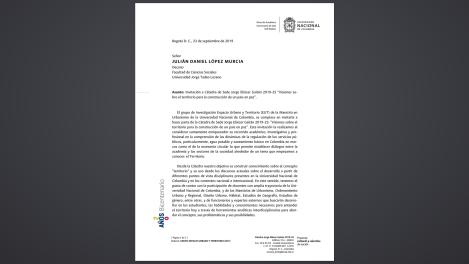 Invitación de la Universidad Nacional de Colombia